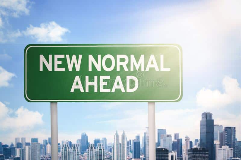 Signpost New Normal Ahead Text Modern City Background 188823249